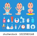 baby and items for care ... | Shutterstock .eps vector #1023583168