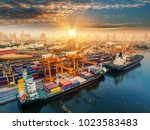 logistics and transportation of ... | Shutterstock . vector #1023583483