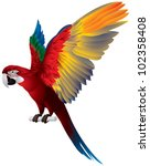 parrot spread wings  red and... | Shutterstock .eps vector #102358408