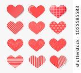 set of vector hearts set in... | Shutterstock .eps vector #1023585583