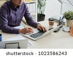 cropped image engineer using... | Shutterstock . vector #1023586243