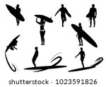 contours of surfers. surfboard. ... | Shutterstock .eps vector #1023591826