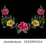wild summer flowers embroidery  ... | Shutterstock .eps vector #1023594214