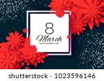 red paper cut flower. 8 march....   Shutterstock .eps vector #1023596146