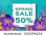 origami violet super spring... | Shutterstock .eps vector #1023596224