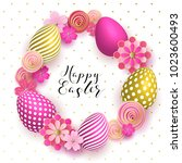 Happy Easter Template With Gol...