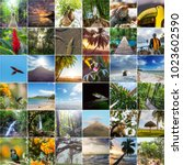 a collage of diverse landscape... | Shutterstock . vector #1023602590