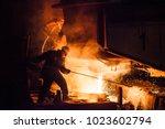 steel production in electric... | Shutterstock . vector #1023602794