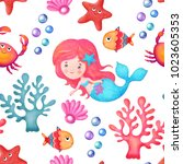 seamless pattern. mermaid ... | Shutterstock . vector #1023605353