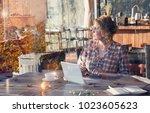 pretty freelancer tall woman... | Shutterstock . vector #1023605623