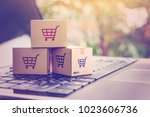 online shopping   ecommerce and ... | Shutterstock . vector #1023606736