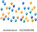 balloons group isolated vector... | Shutterstock .eps vector #1023608188
