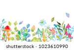 watercolor collection of color... | Shutterstock . vector #1023610990