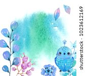 watercolor spot and flowers ... | Shutterstock . vector #1023612169