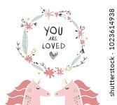 cute unicorns. fairy tale type... | Shutterstock .eps vector #1023614938