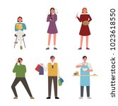 people who enjoy various... | Shutterstock .eps vector #1023618550