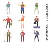 various characters about... | Shutterstock .eps vector #1023618556