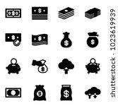 solid vector icon set   dollar...