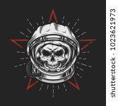 skull in space helmet with star.... | Shutterstock .eps vector #1023621973
