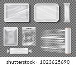 transparent food packages from...   Shutterstock .eps vector #1023625690