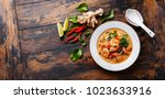 tom yam kung spicy thai soup... | Shutterstock . vector #1023633916