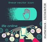 hand gesture line icon set in... | Shutterstock .eps vector #1023636928