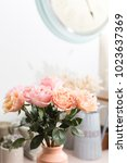 bouquet flowers of pink roses... | Shutterstock . vector #1023637369