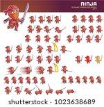ninja cartoon game character... | Shutterstock .eps vector #1023638689