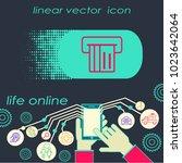 card insert flat line icon ... | Shutterstock .eps vector #1023642064