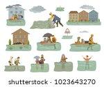 flood infographic elements.... | Shutterstock .eps vector #1023643270