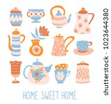 floral tea set. cute poster... | Shutterstock .eps vector #1023644380