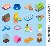 Stock vector pet store icon set vector flat isometric illustration of pet food supplies and treats toys 1023646054