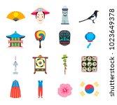 south korea icons set  vector... | Shutterstock .eps vector #1023649378