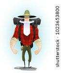brutal cartoon discoverer with... | Shutterstock .eps vector #1023653800