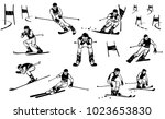 nine athletes of skiers compete ... | Shutterstock .eps vector #1023653830