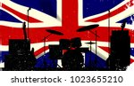grunge union jack flag as a... | Shutterstock . vector #1023655210