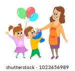 children  boy and girl give... | Shutterstock .eps vector #1023656989