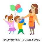 children  boy and girl give... | Shutterstock .eps vector #1023656989