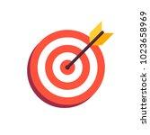 arrow in center of board. flat... | Shutterstock . vector #1023658969