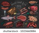 meat and fish menu. steak ...   Shutterstock .eps vector #1023660886