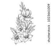 vintage vector floral...   Shutterstock .eps vector #1023661009