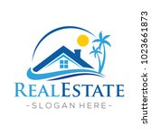 Stock vector real estate and beach homes logo vector 1023661873