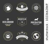 camping logos templates vector... | Shutterstock .eps vector #1023662869