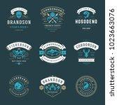 seafood restaurant logos set... | Shutterstock .eps vector #1023663076