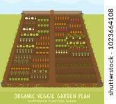 organic veggie garden plan  ... | Shutterstock .eps vector #1023664108