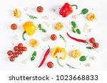 ingredients for cooking pasta... | Shutterstock . vector #1023668833