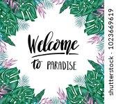 green summer tropical... | Shutterstock .eps vector #1023669619