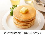 pancakes and butter   Shutterstock . vector #1023672979