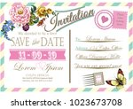 wedding invitation card vintage.... | Shutterstock .eps vector #1023673708