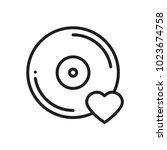 vinyl line icon. favorite song. ... | Shutterstock .eps vector #1023674758